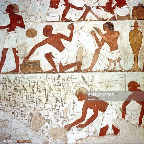 A detail of a wall painting in the tomb of Rekhmire showing metal workers shaping vessels Egypt Ancient Egyptian 18th dynasty c 1425 BC Sheikh Abd el...