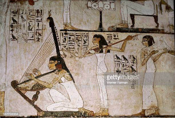 A detail of a wall painting in the tomb of Rekhmire showing women playing the harp lute and tambourine Egypt Ancient Egyptian 18th dynasty c 1425BC...