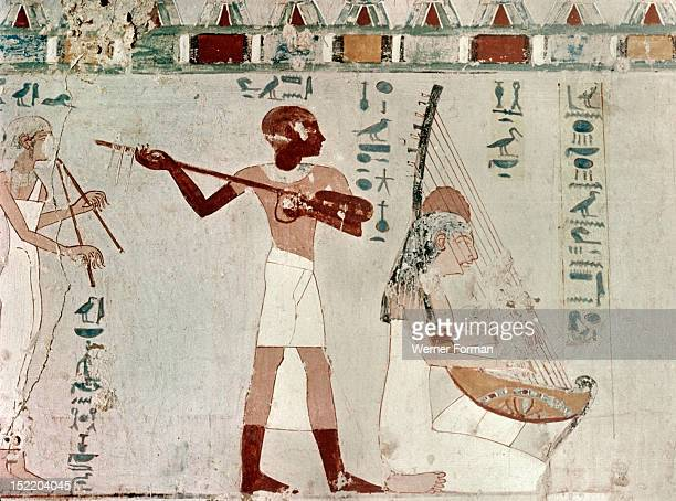 A detail of a wall painting in the tomb of Zeserkaresonb depicting a man and women playing string instruments Egypt Ancient Egyptian 18th dynasty c...