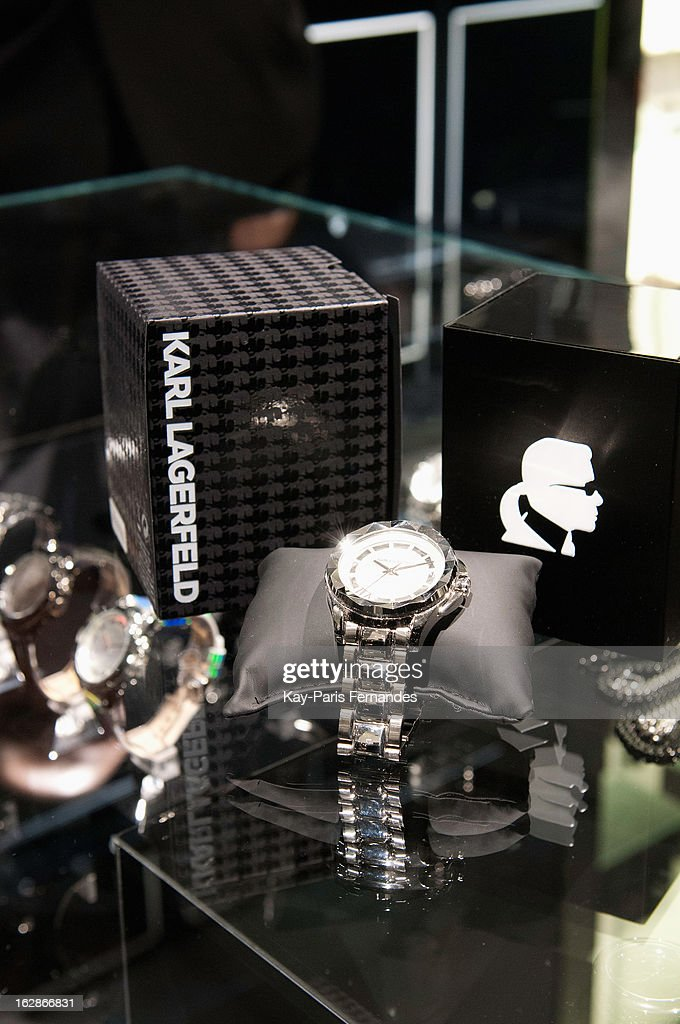 A detail of a watch and packaging at the Karl Lagerfeld's Concept Store Opening as part of Paris Fashion Week on February 28, 2013 in Paris, France.