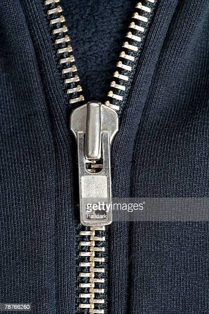 Detail of a zipper on a sweatshirt