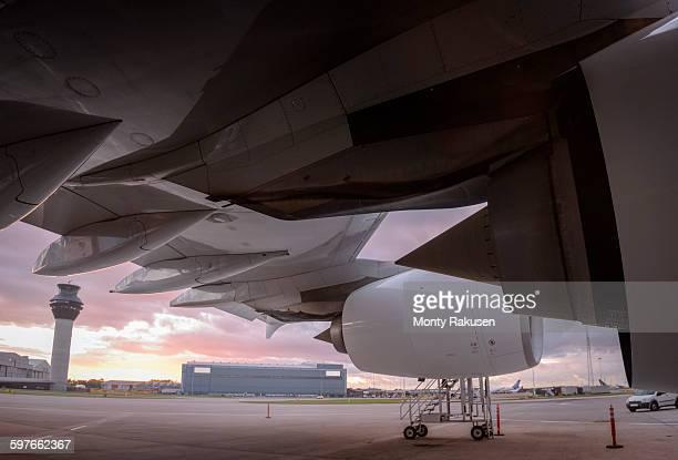 Detail of A380 aircraft at airport at sunset