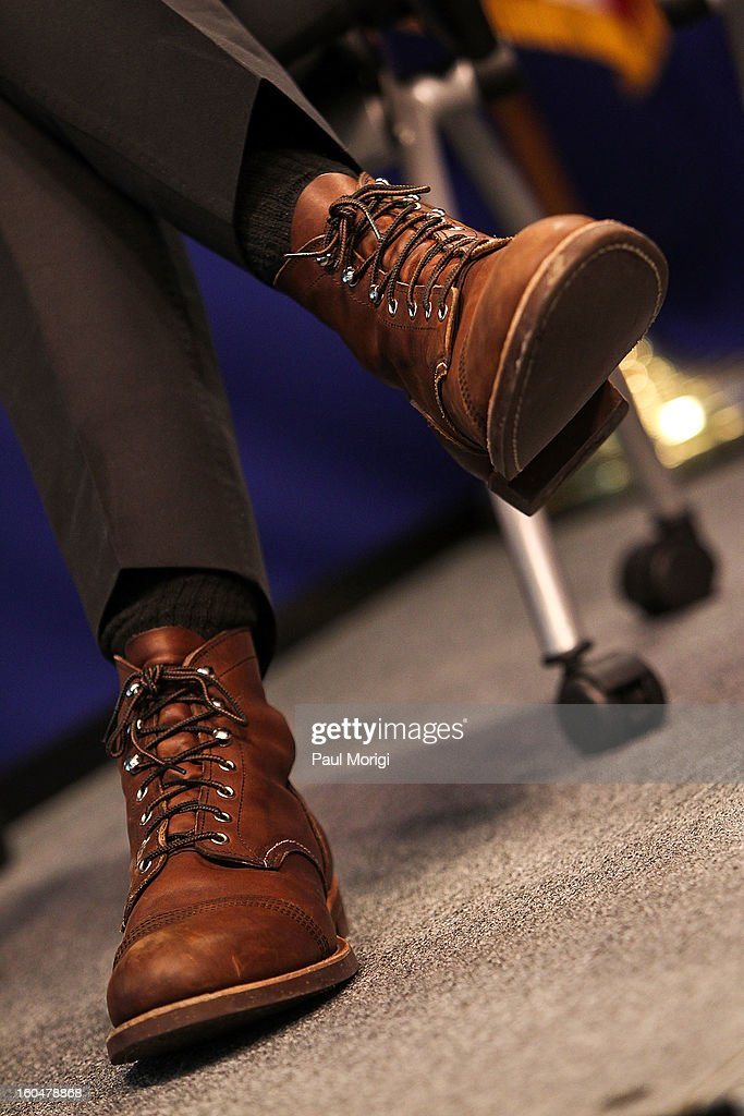 Detail of actor Bradley Cooper's boots at the 'Silver Lining Playbook' Mental Health Progress Press Conference at Center For American Progress on February 1, 2013 in Washington, DC.