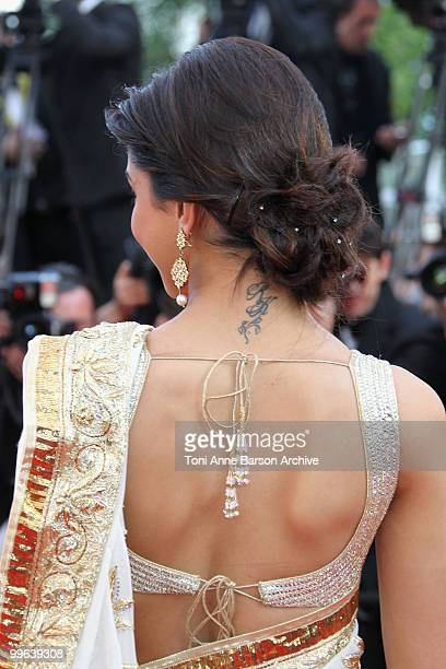 A detail of actress Deepika Padukone as she attends the Premiere of 'On Tour' at the Palais des Festivals during the 63rd Annual International Cannes...