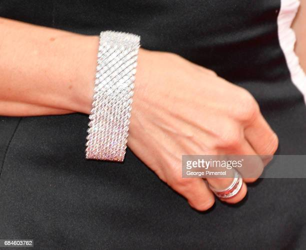 A detail of Actress Michelle Yeoh's bracelet at the 'Loveless ' screening during the 70th annual Cannes Film Festival at Palais des Festivals on May...
