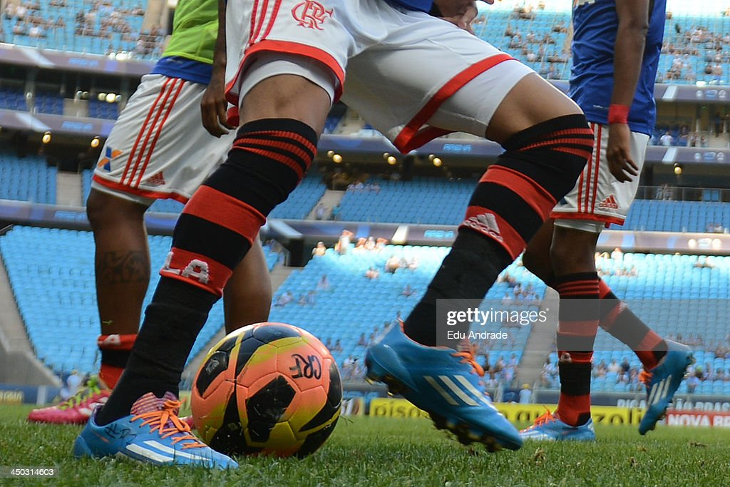 Detail of Adidas boots before the match between Gremio and Flamengo for the Brazilian Series A 2013 at Arena Gremio Stadium on November 17, 2013, in Porto Alegre, Brazil.