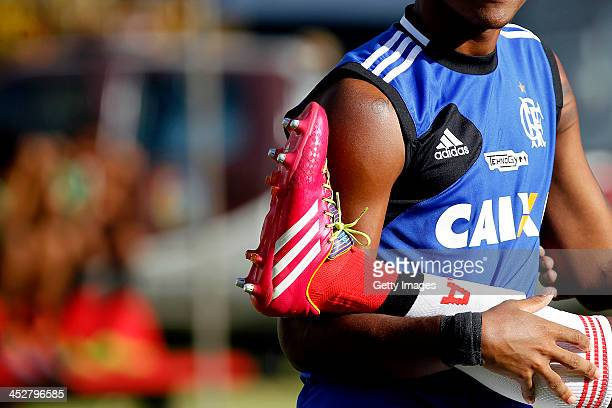 Detail of Adidas boots during the match between Flamengo and Vitoria for the Brazilian Series A 2013 at Barradao stadium on December 1 2013 in...