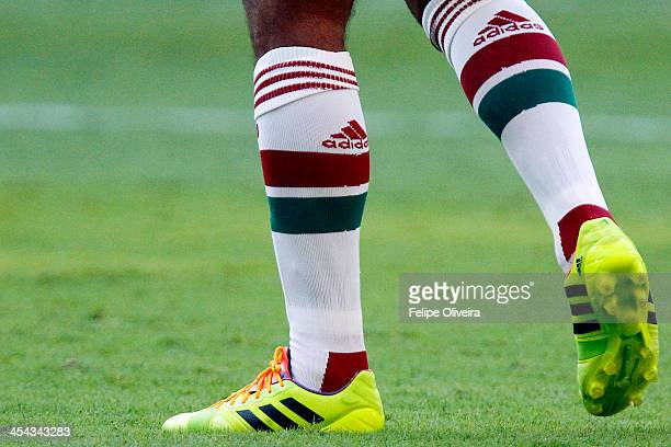 Detail of Adidas boots during the match between Fluminense and Bahia for the Brazilian Series A 2013 at Fonte Nova stadium on December 8 2013 in...