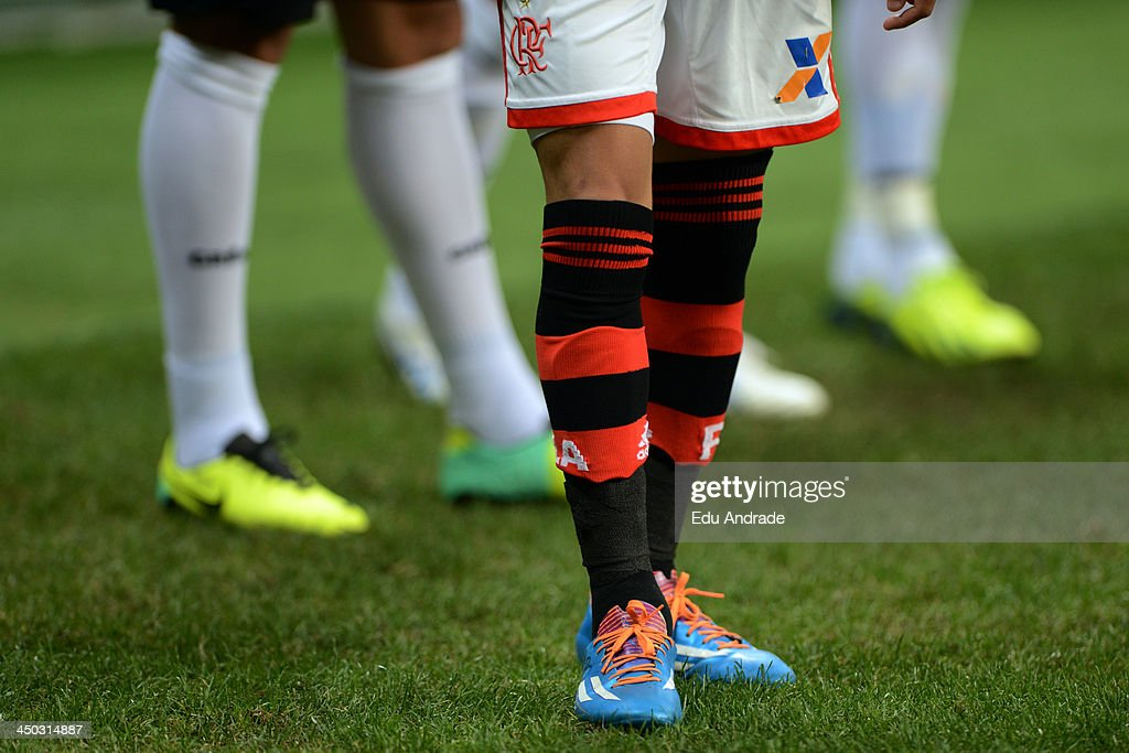 Detail of Adidas boots during the match between Gremio and Flamengo for the Brazilian Series A 2013 at Arena Gremio Stadium on November 17, 2013, in Porto Alegre, Brazil.