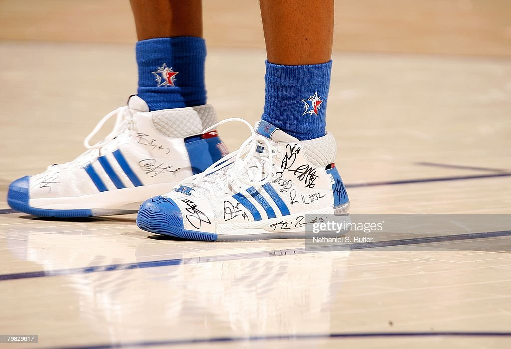 A detail of adidas sneakers worn by Chauncey Billups of the Eastern Conference (with autographs from his fellow All-Stars) during the 2008 NBA All-Star Game part of 2008 NBA All-Star Weekend at the New Orleans Arena on February 17, 2008 in New Orleans, Louisiana.