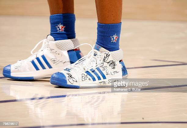 A detail of adidas sneakers worn by Chauncey Billups of the Eastern Conference during the 2008 NBA AllStar Game part of 2008 NBA AllStar Weekend at...