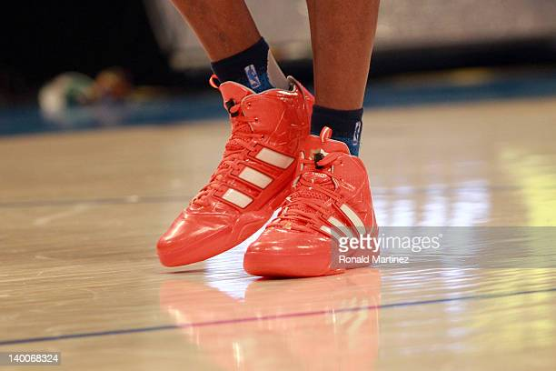 A detail of adidas sneakers worn by Dwight Howard of the Orlando Magic and the Eastern Conference AllStars against the Western Conference during the...