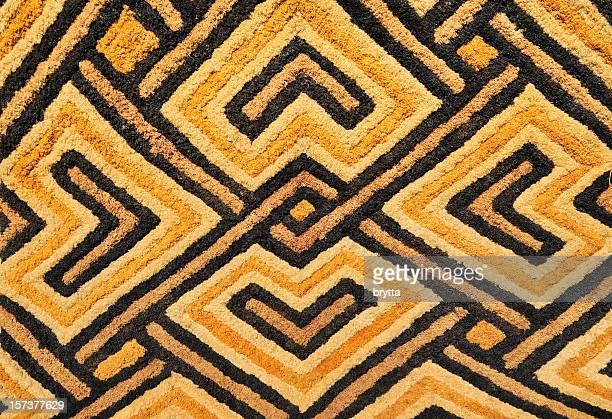 Detail of African Kasai velvet tapestry woven by Kuba tribe