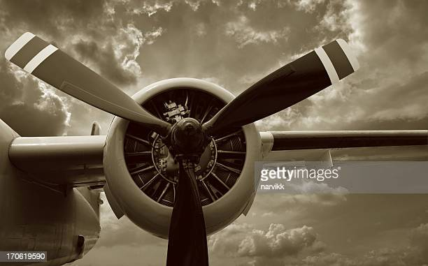 Detail of Airplane Engine and Propeller