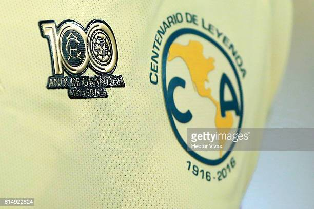 Detail of America's shirt during the 13th round match between America and Tijuana as part of the Torneo Apertura 2016 Liga MX at Azteca Stadium on...