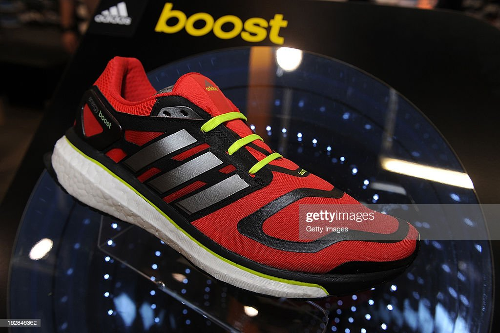 Detail of an adidas Boost running shoe at the adidas Boost Launch at the Westfield shopping centre on February 28, 2013 in London, England.