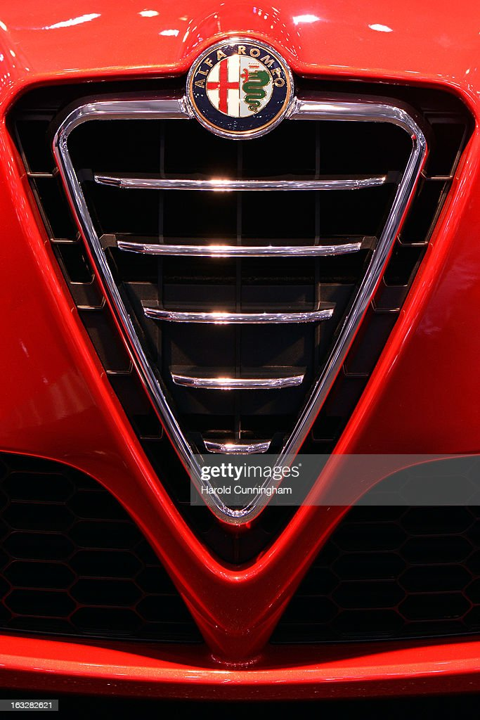 A detail of an Alfa Romeo is seen during the 83rd Geneva Motor Show on March 6, 2013 in Geneva, Switzerland. Held annually with more than 130 product premiers from the auto industry unveiled this year, the Geneva Motor Show is one of the world's five most important auto shows.