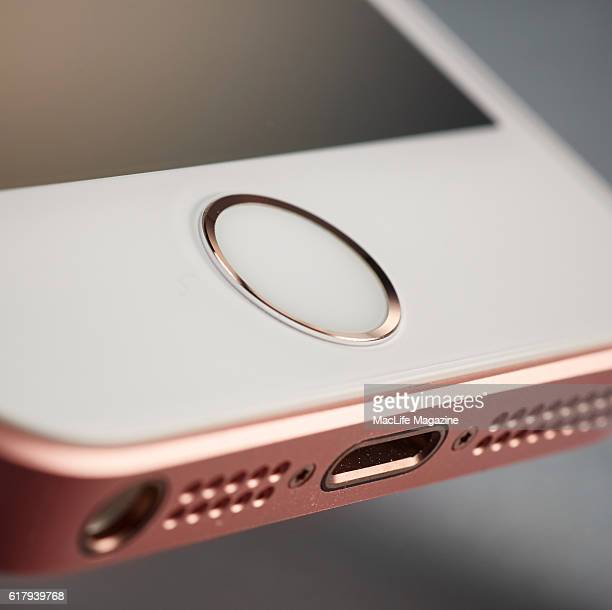 Detail of an Apple iPhone SE smartphone taken on April 10 2016