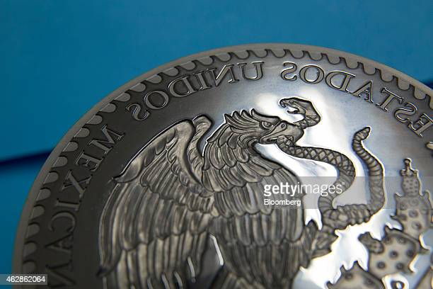 A detail of an eagle the national symbol of Mexico is seen on a steel marking stamp for a one kilogram silver coin inside the stamp vault at the...