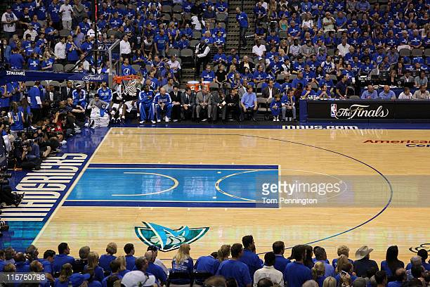 A detail of an empty court between the Dallas Mavericks and the Miami Heat in Game Four of the 2011 NBA Finals at American Airlines Center on June 7...