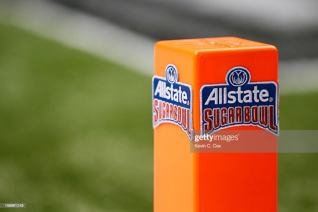 A detail of an end zone scoring pylon is seen with an Allstate Sugar Bowl logo sewn on it prior to the game between the Florida Gators and the...