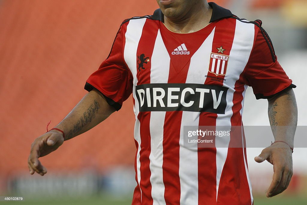 Detail of an Estudiantes jersey during a match between Godoy Cruz and Estudiantes as part of Torneo Inicial at Mundialista Stadium on November 16, 2013 in Mendoza, Argentina.