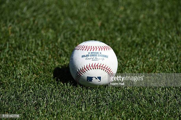 Detail of an MLB baseball prior to a game between the Los Angeles Dodgers and the Oakland Athletics at HoHoKam Stadium on March 10 2016 in Mesa...