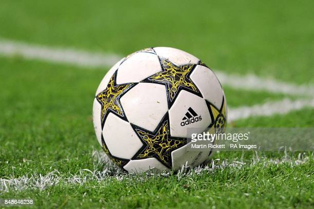 Detail of an official UEFA Champions League matchball in the corner quadrant
