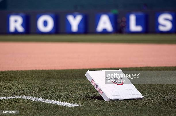 A detail of an Opening Day logo on a base prior to the start of the Kansas City Royals home opener against the Cleveland Indians on April 13 2012 at...