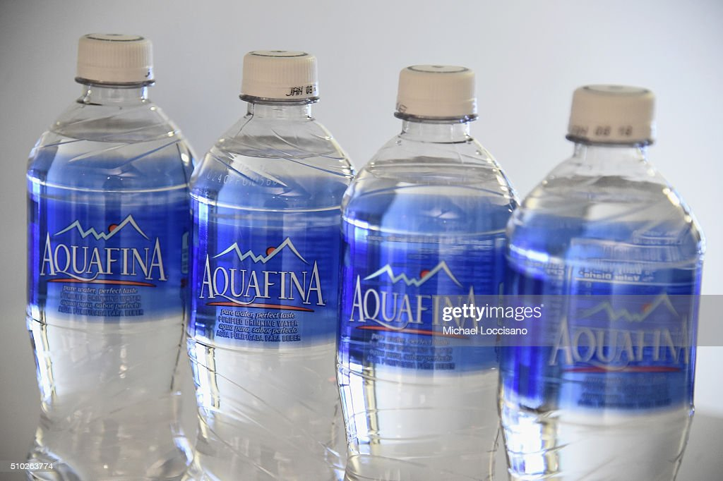 Detail of Aquafina bottles at The Gallery, Skylight at Clarkson Sq at Fall 2016 New York Fashion Week on February 14, 2016 in New York City.