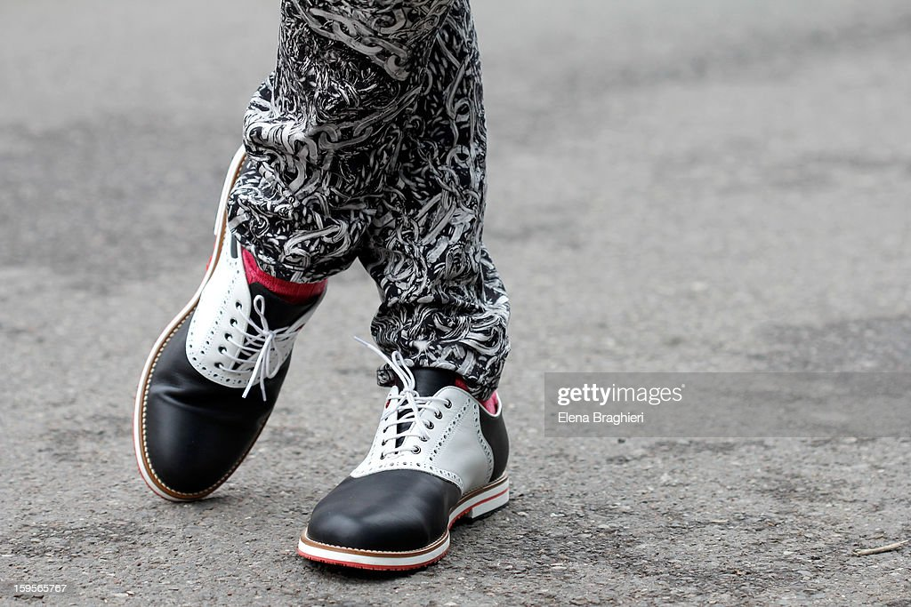 Detail of art director Luca Finotti shoes during the Milan Fashion Week on January 15, 2013.