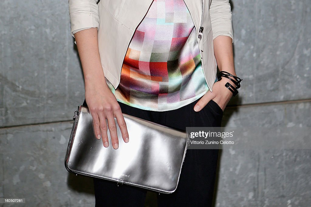 A detail of Aylin Tezel is seen as she attends the Emporio Armani fashion show as part of Milan Fashion Week Womenswear Fall/Winter 2013/14 on February 24, 2014 in Milan, Italy.
