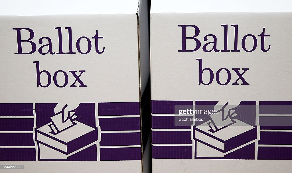 A detail of ballot boxes at a polling station at Albert Park Primary School on July 2, 2016 in Melbourne, Australia. Voters head to the polls today to elect the 45th parliament of Australia.