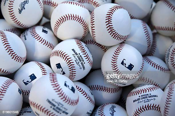Detail of baseballs used in the Opening Day game against the Chicago Cubs at Angel Stadium of Anaheim on April 4 2016 in Anaheim California