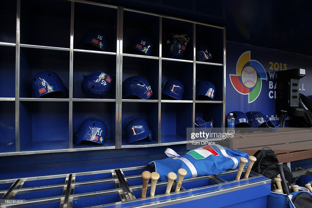 Detail of batting helmets in the dugout of Team Italy during the workout day for the 2013 World Baseball Classic on March 11, 2013 at Marlins Park in Miami, Florida.