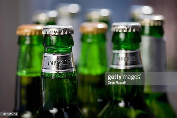 Detail of beer bottles