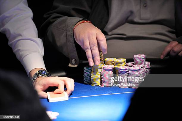 Detail of betting chips and cards on the table at the Gala Casino British Poker Tour 2008 Grand Final in Bristol on December 6 2008