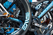Detail of bicycles of the UnitedHealthcare Pro Cycling Team prior to Stage 6 of the AMGEN Tour of California