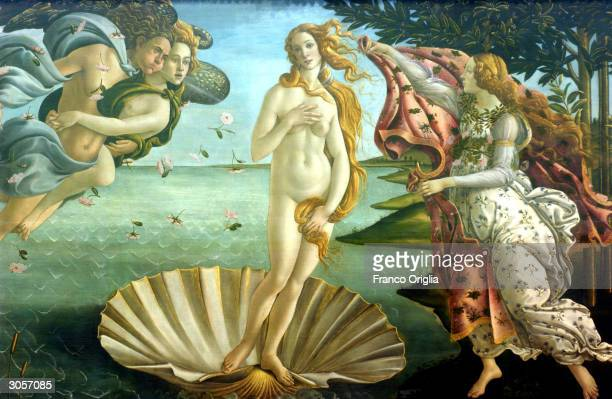 A detail of 'Birth of Venus' by painter Sandro Botticelli is shown at the Uffizi Gallery March 9 2004 in Florence Italy Florence is on the eve of the...