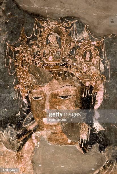 Detail of Bodhisattava Vajarapani Ajanta caves Maharashtra India