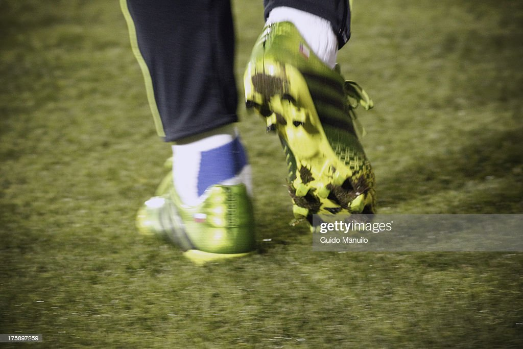 Detail of boot shoes of Universidad de Chile's team during a match between Universidad de Chile and Cobresal as part of the Torneo Apertura 2013 at Santa Laura Stadium on August 09, 2013 in Santiago, Chile.