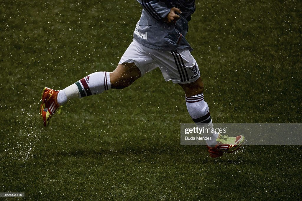 Detail of boots during a match between Fluminense and Audax Rio as part of Carioca Championship 2013 at Engenhao Stadium on March 17 2013 in Rio de...