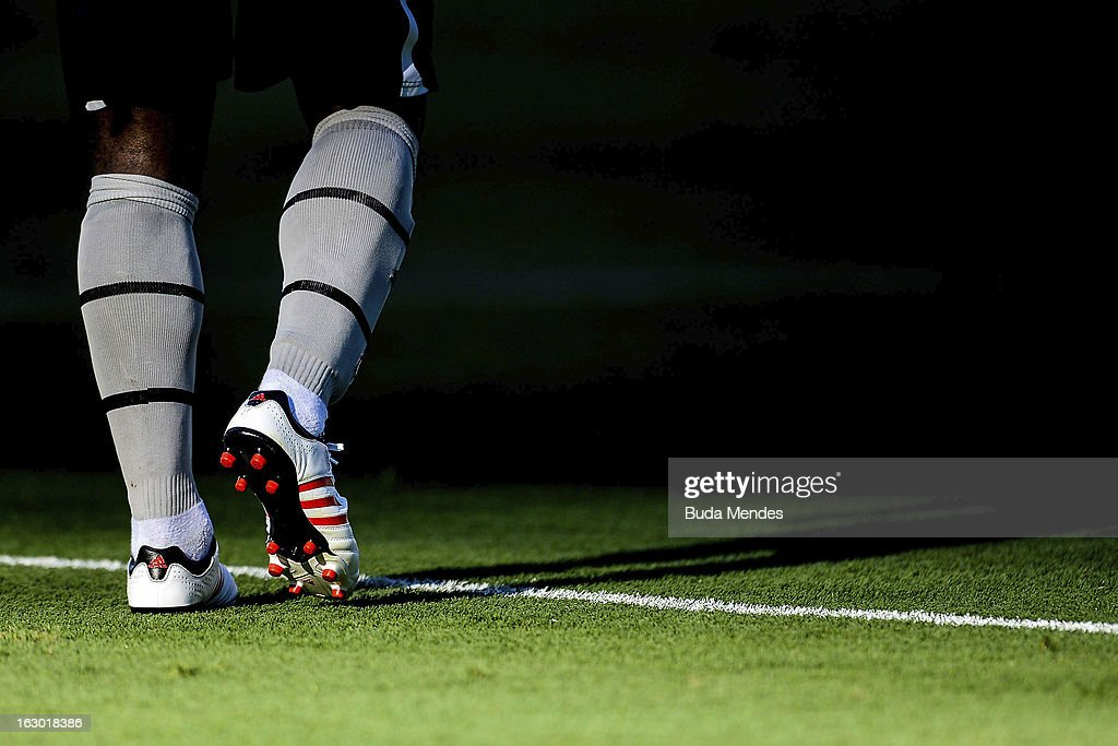 Detail of boots during the match between Botafogo and Flamengo as part of Carioca Championship 2013 at Engenhao Stadium on March 03, 2013 in Rio de Janeiro, Brazil.