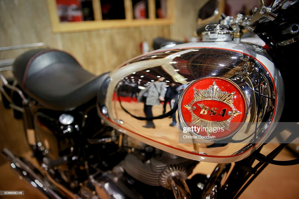 Detail of BSA motorcycle on display at the MCN London Motorcycle Show at ExCel on February 12, 2016 in London, England.