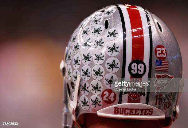 Detail of Buckeye stickers on the helmet of a Ohio State Buckeyes athlete before the AllState BCS National Championship against the Louisiana State...