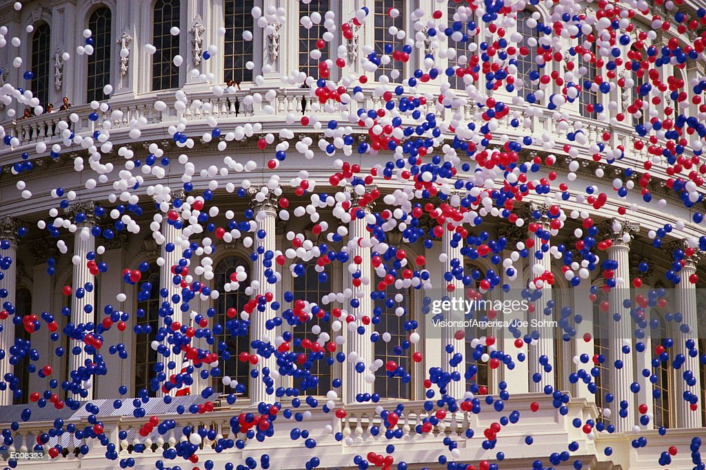 Detail of Capitol Building with red, white, and blue balloons : Stock Photo