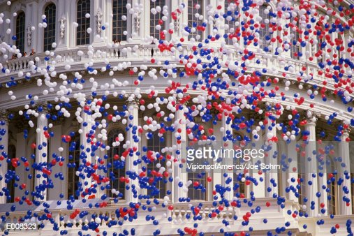 Detail of Capitol Building with red, white, and blue balloons : Bildbanksbilder