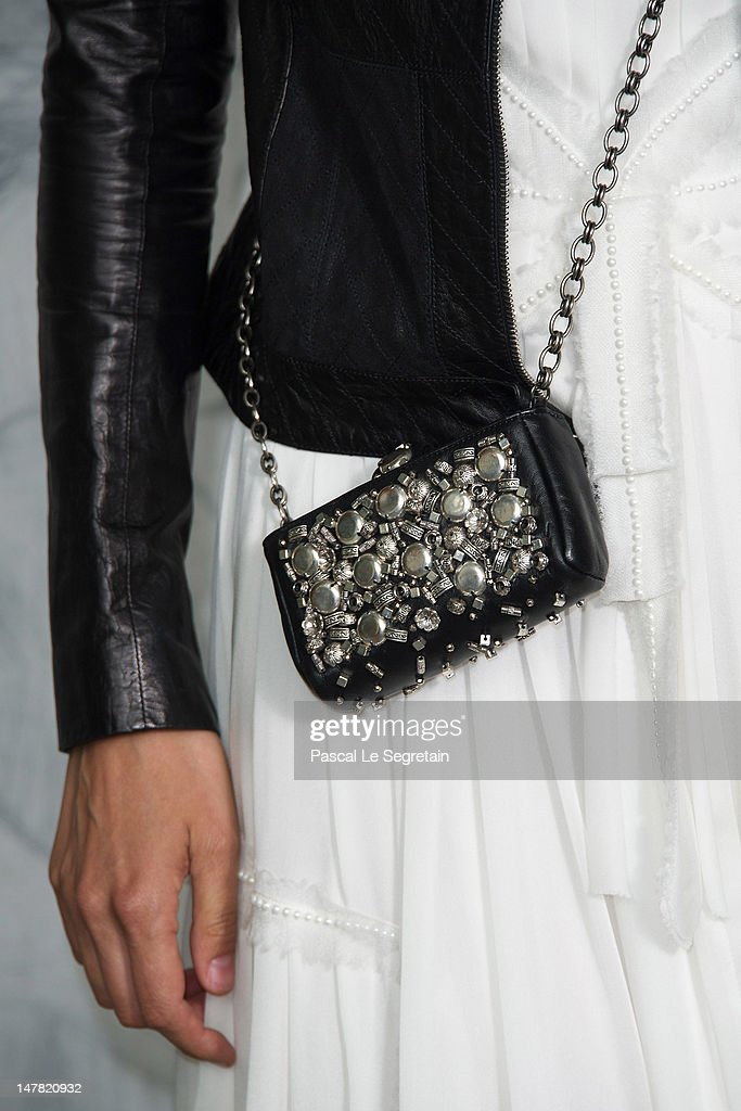 A detail of Caroline de Maigret is seen as she attends the Chanel Haute-Couture show as part of Paris Fashion Week Fall / Winter 2012/13 at the Grand Palais on July 3, 2012 in Paris, France.