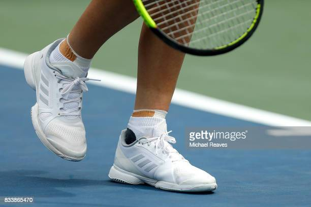 A detail of Caroline Wozniacki of Denmark shoes against Ashleigh Barty of Austrailia during Day 6 of the Western and Southern Open at the Lindner...