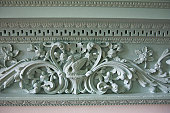 Detail of carved swan in mantel over fireplace, Historic Kenmore, 1775 home of Fielding Lewis and wife Betty, sister of George Washington, Fredericksburg, VA, U.S.A.